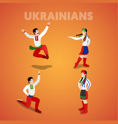 Isometric ukrainian dancing people vector