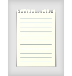 Lined note paper sheet vector image