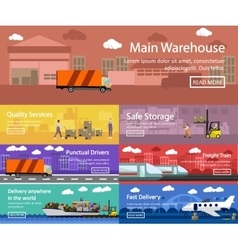 Logistic and transportation concept flat banners vector