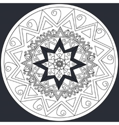 Mandala flower on black background coloring vector image vector image
