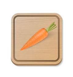 Realistic carrot on wooden brown cutting vector