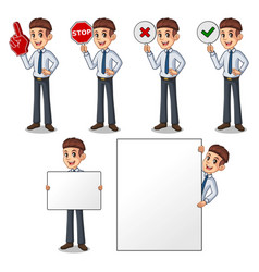 set of businessman in shirt holding sign board vector image vector image