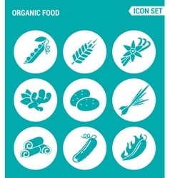 set of round icons white Organic food asparagus vector image