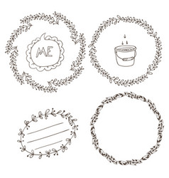 set of wreaths and labels vector image vector image