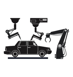 Silhouette car assembly industrial robotic vector