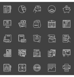 Tax white line icons vector