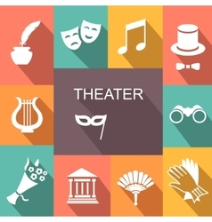 Theater acting icons set isolated vector