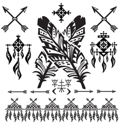 Tribal Feathers and decorative elements vector image vector image