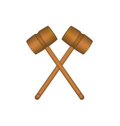 two crossed wooden mallets in brown design vector image vector image