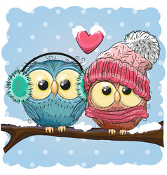 two cute drawn owls sits on a branch vector image vector image