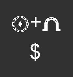 White icon on black background chip horseshoe vector