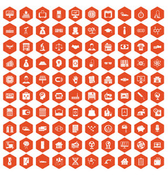 100 loans icons hexagon orange vector image vector image