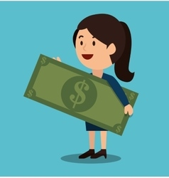 Woman cartoon money earnings design isolated vector
