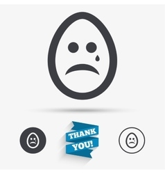 Sad egg face with tear sign icon crying symbol vector