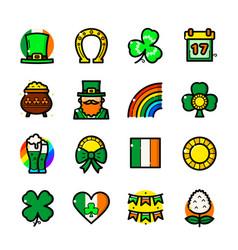 st patricks day icons set vector image