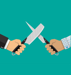 businessmen hands with knives vector image