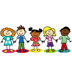 Stick-figure-ethnic-diversity-kids-t vector