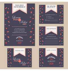 wedding inwitation cards with hearts vector image