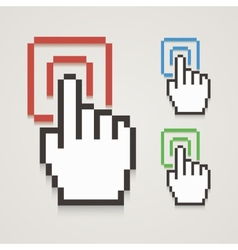 Pixel hand cursor with touching vector image