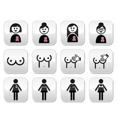 Breast cancer woman with pink ribbon buttons set vector