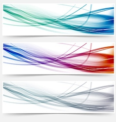 Wave headers set - swoosh hi-tech lines vector
