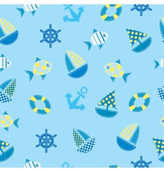 Marine kid seamless pattern vector