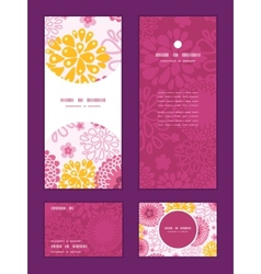 Pink field flowers vertical frame pattern vector