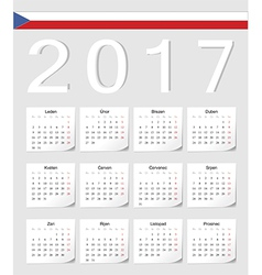 Czech 2017 calendar with shadow angles vector