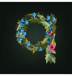 Q letter flower alphabet colorful font vector
