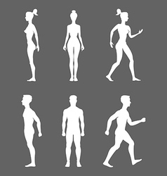 Collection of silhouettes man and woman isolated vector