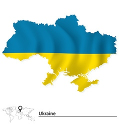Map of ukraine with flag vector