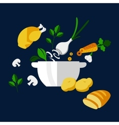 Cooking dinner with chicken and vegetables vector