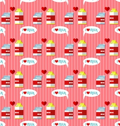Milk cartons seamless pattern vector