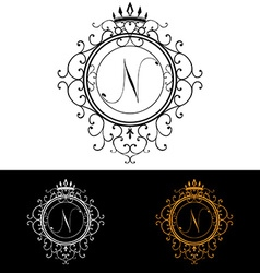 Letter n luxury logo template flourishes vector