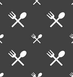 Fork and spoon crosswise cutlery eat icon sign vector
