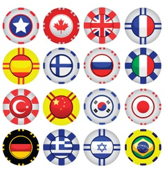 Flags on casino tokens vector