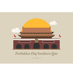 Forbidden city southern gate  china vector