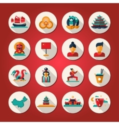 Set of flat design china travel icons vector