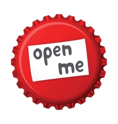 Red bottle cap open me vector
