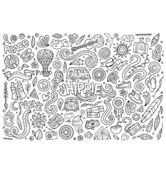 Line art set of hippie objects vector