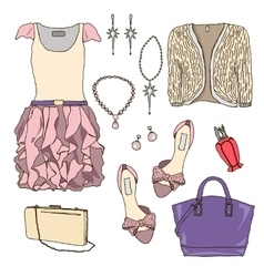 Woman wardrobe clothes accessories set vector