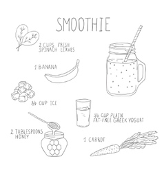 Smoothie recipe with a bottle and ingredients vector