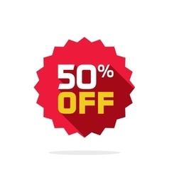 Sale sticker 50 percent off label tag badge vector