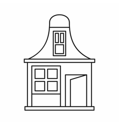House with a mansard icon outline style vector