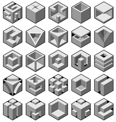 Abstract 3d cube objects vector