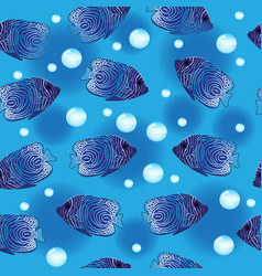 angel fish seamless pattern underwater background vector image