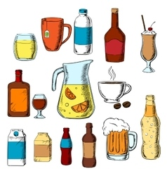 Assorted beverages alcohol and drinks vector