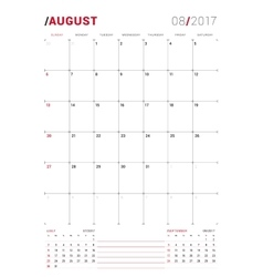 August 2017 print template monthly vector