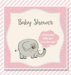Baby girl shower card with little elephant vector