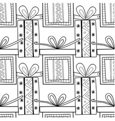 black and white seamless patterns with gift boxes vector image vector image